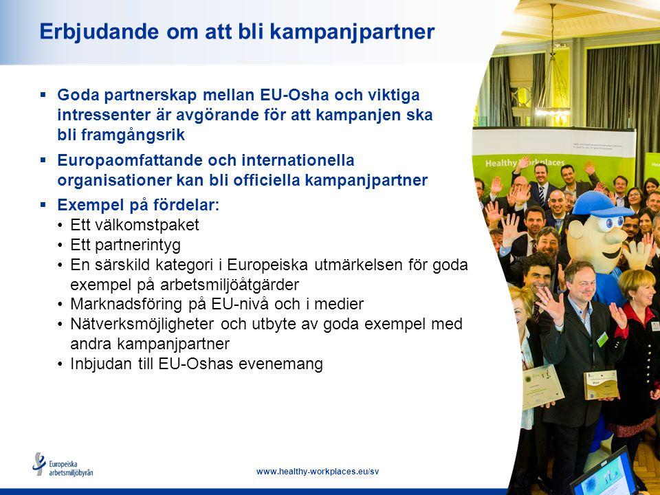 16 www.healthy-workplaces.eu/sv Erbjudande om att bli kampanjpartner  Goda partnerskap mellan EU-Osha och viktiga intressenter är avgörande för att kampanjen ska bli framgångsrik  Europaomfattande och internationella organisationer kan bli officiella kampanjpartner  Exempel på fördelar: Ett välkomstpaket Ett partnerintyg En särskild kategori i Europeiska utmärkelsen för goda exempel på arbetsmiljöåtgärder Marknadsföring på EU-nivå och i medier Nätverksmöjligheter och utbyte av goda exempel med andra kampanjpartner Inbjudan till EU-Oshas evenemang