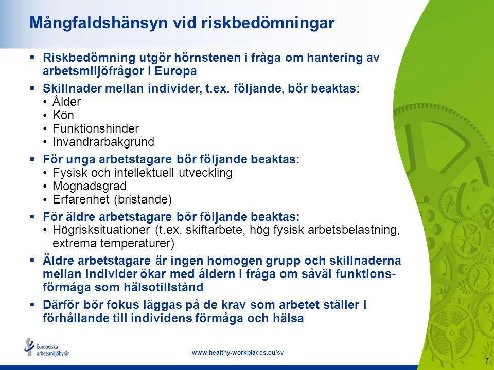 8 www.healthy-workplaces.eu/sv Anpassa arbetsplatsen  Arbetet bör anpassas till individens förmåga, kompetens och hälsostatus samt till andra mångfaldsfaktorer  Dynamisk och fortgående process genom hela arbetslivet  Exempel på förändringar utifrån funktionsförmåga: Användning av utrustning Bra ergonomisk utformning Omorganisering av arbetet Arbetsrotation  Bra arbetsplatsutformning och organisation gagnar medarbetare i alla åldrar