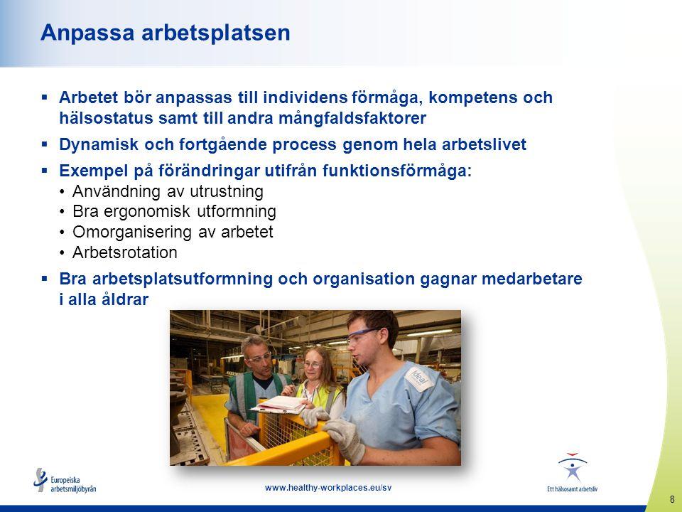 9 www.healthy-workplaces.eu/sv Förebyggande av sjukpensionering, rehabilitering och strategier för återgång till arbete  Att arbeta är bra för hälsan under förutsättning att arbetsvillkoren är anständiga  Långvarig sjukfrånvaro kan leda till psykiska problem  Hälsoproblem är den vanligaste orsaken till att en person lämnar arbetslivet i förtid  Viktigt att hjälpa människor med hälsoproblem att förbli i sysselsättning genom rehabilitering och strategier för återgång till arbete  Goda exempel: Sjukskrivning ersätts av friskskrivning – Storbritannien Projekt för återgång till arbetet – Danmark Programmet fit2work – Österrike