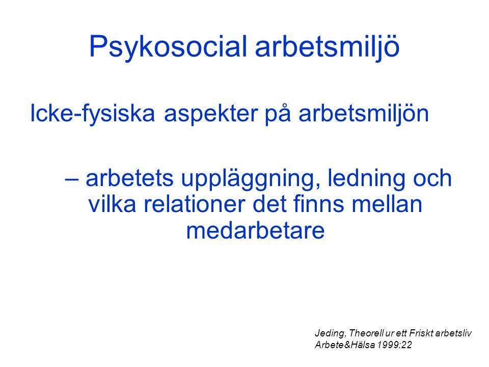 Psykosocial arbetsmiljö Icke-fysiska aspekter på arbetsmiljön – arbetets uppläggning, ledning och vilka relationer det finns mellan medarbetare Jeding, Theorell ur ett Friskt arbetsliv Arbete&Hälsa 1999:22