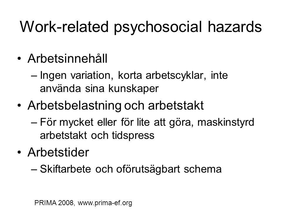 Work-related psychosocial hazards Arbetsinnehåll –Ingen variation, korta arbetscyklar, inte använda sina kunskaper Arbetsbelastning och arbetstakt –För mycket eller för lite att göra, maskinstyrd arbetstakt och tidspress Arbetstider –Skiftarbete och oförutsägbart schema PRIMA 2008, www.prima-ef.org