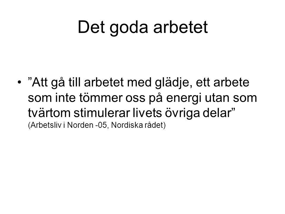 Det goda arbetet Att gå till arbetet med glädje, ett arbete som inte tömmer oss på energi utan som tvärtom stimulerar livets övriga delar (Arbetsliv i Norden -05, Nordiska rådet)