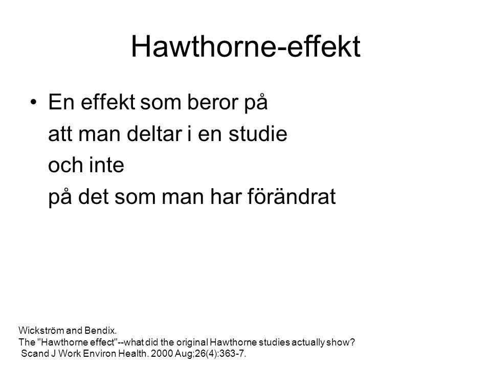 Hawthorne-effekt En effekt som beror på att man deltar i en studie och inte på det som man har förändrat Wickström and Bendix.