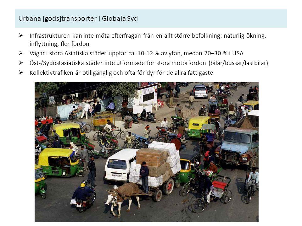 Urbana [gods]transporter i Globala Syd  Infrastrukturen kan inte möta efterfrågan från en allt större befolkning: naturlig ökning, inflyttning, fler fordon  Vägar i stora Asiatiska städer upptar ca.