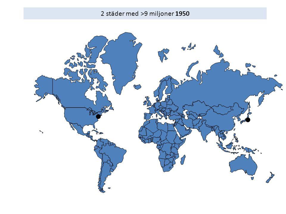 2 städer med >9 miljoner 1950