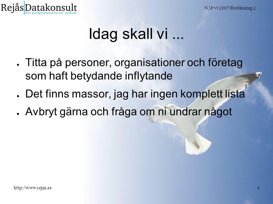 N3P vt 2007 föreläsning 2 http://www.rejas.se 4 Idag skall vi... ● Titta på personer, organisationer och företag som haft betydande inflytande ● Det f
