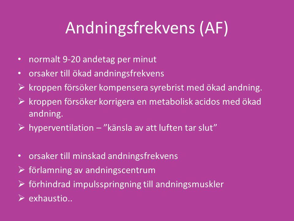 Andningsfrekvens (AF) normalt 9-20 andetag per minut orsaker till ökad andningsfrekvens  kroppen försöker kompensera syrebrist med ökad andning.