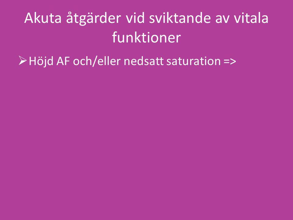 Akuta åtgärder vid sviktande av vitala funktioner  Höjd AF och/eller nedsatt saturation =>