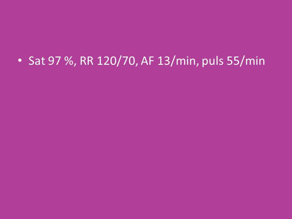 Sat 97 %, RR 120/70, AF 13/min, puls 55/min