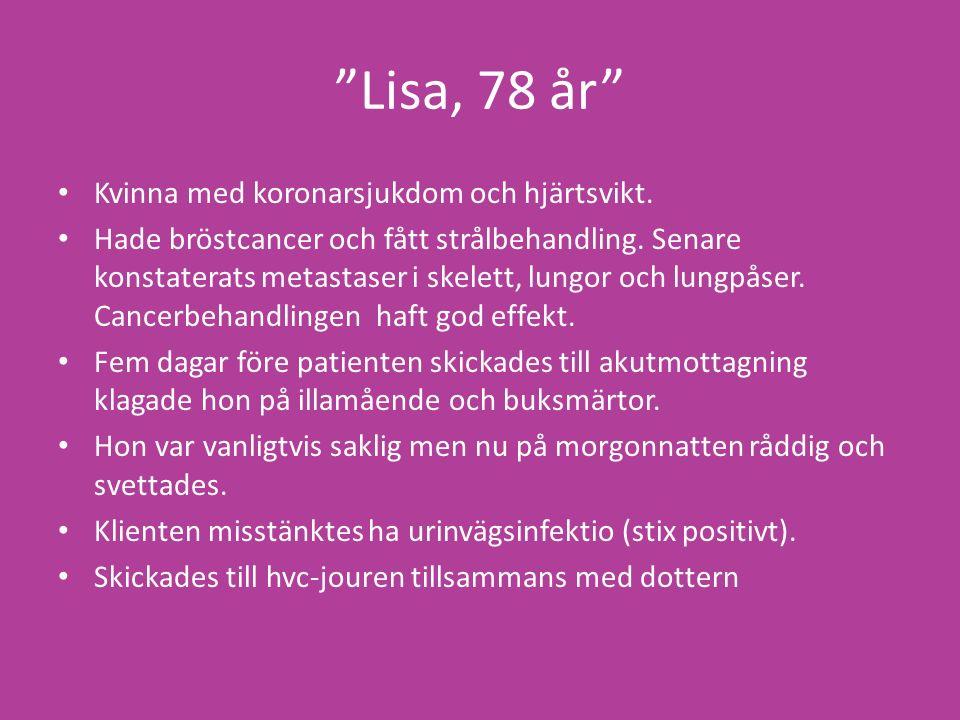 Lisa, 78 år Kvinna med koronarsjukdom och hjärtsvikt.