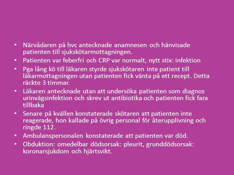 Närvådaren på hvc antecknade anamnesen och hänvisade patienten till sjukskötarmottagningen.