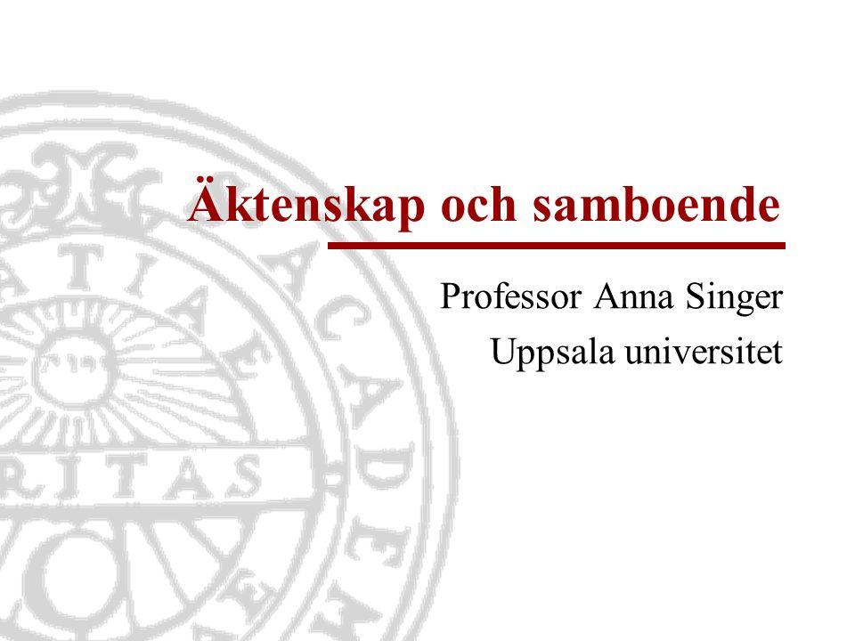 Äktenskap och samboende Professor Anna Singer Uppsala universitet