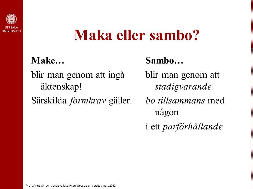 Prof.. Anna Singer, Juridiska fakulteten, Uppsala universitet, mars 2012 Maka eller sambo.