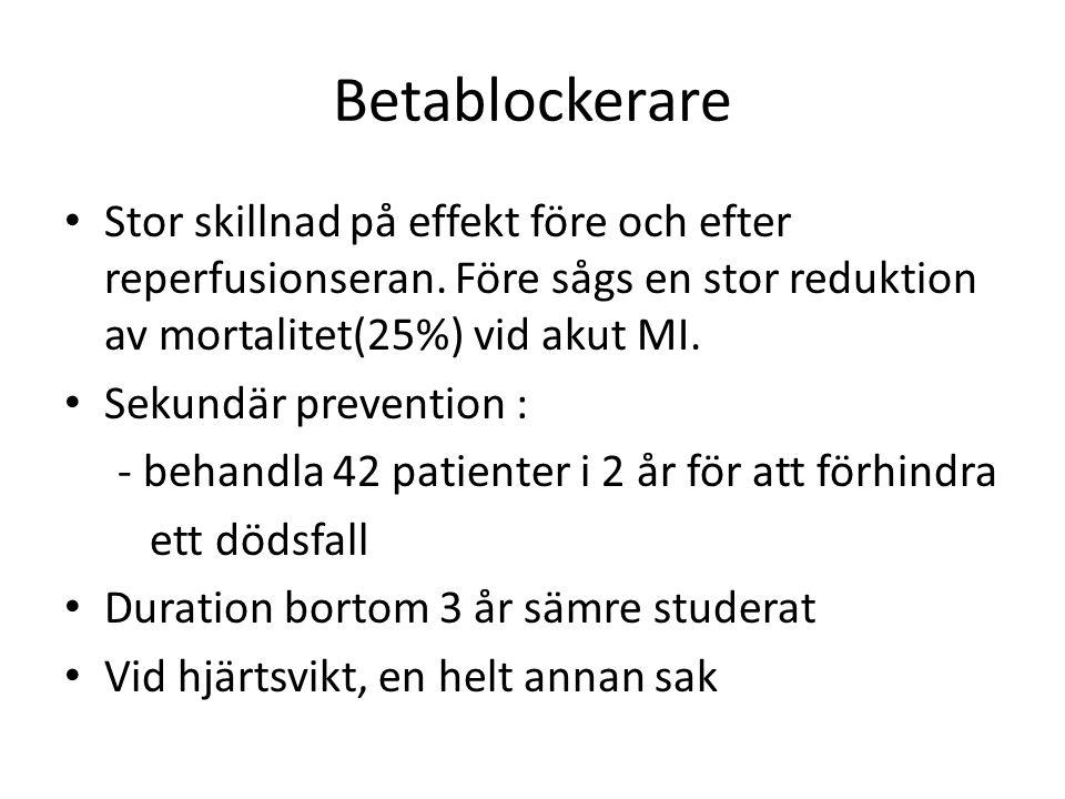 Betablockerare Stor skillnad på effekt före och efter reperfusionseran. Före sågs en stor reduktion av mortalitet(25%) vid akut MI. Sekundär preventio