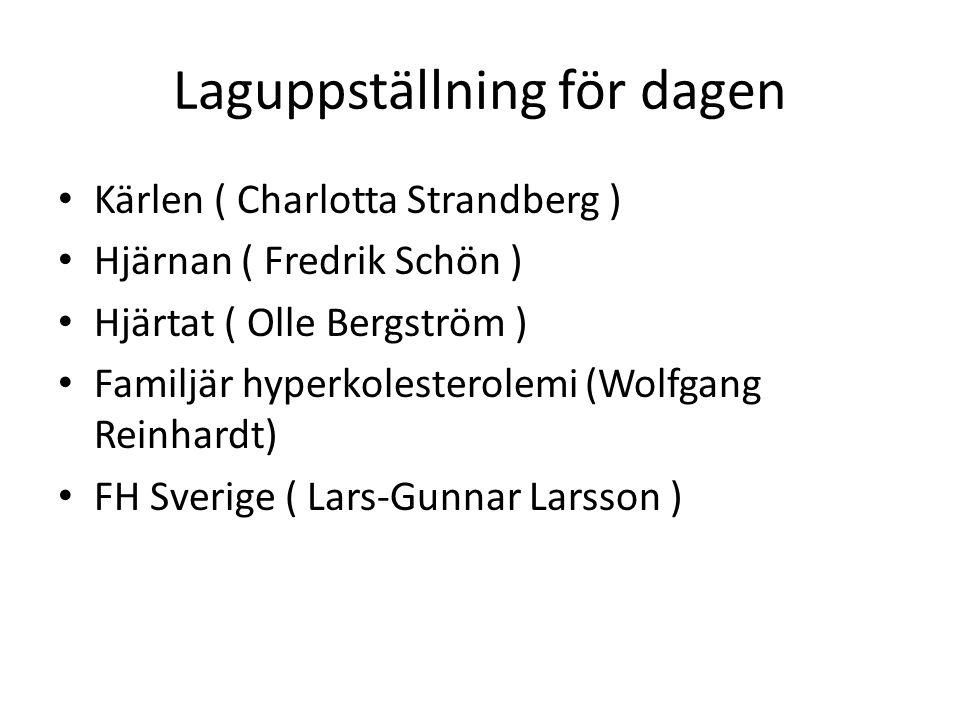 Laguppställning för dagen Kärlen ( Charlotta Strandberg ) Hjärnan ( Fredrik Schön ) Hjärtat ( Olle Bergström ) Familjär hyperkolesterolemi (Wolfgang Reinhardt) FH Sverige ( Lars-Gunnar Larsson )