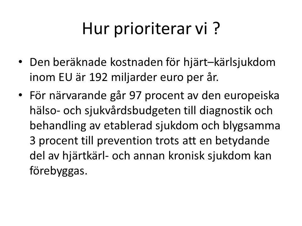 Hur prioriterar vi ? Den beräknade kostnaden för hjärt–kärlsjukdom inom EU är 192 miljarder euro per år. För närvarande går 97 procent av den europeis
