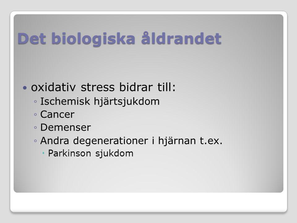 Det biologiska åldrandet oxidativ stress bidrar till: ◦Ischemisk hjärtsjukdom ◦Cancer ◦Demenser ◦Andra degenerationer i hjärnan t.ex.  Parkinson sjuk