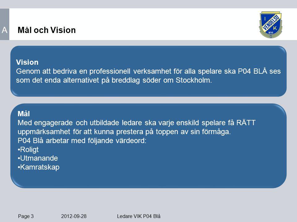 Page 3 2012-09-28 Ledare VIK P04 Blå Mål och Vision Mål Med engagerade och utbildade ledare ska varje enskild spelare få RÄTT uppmärksamhet för att kunna prestera på toppen av sin förmåga.