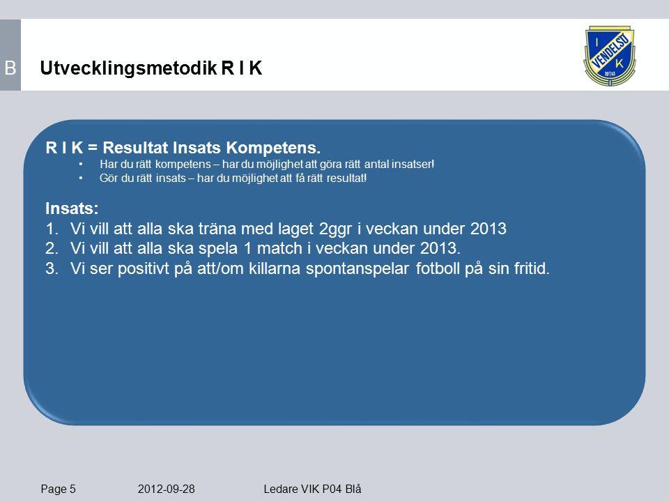 Page 5 2012-09-28 Ledare VIK P04 Blå Utvecklingsmetodik R I K R I K = Resultat Insats Kompetens.