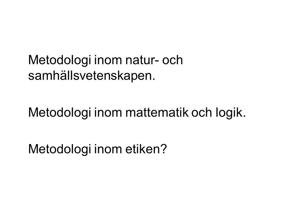 Metodologi inom natur- och samhällsvetenskapen. Metodologi inom mattematik och logik.