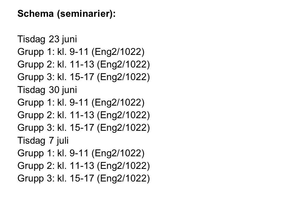 Schema (seminarier): Tisdag 23 juni Grupp 1: kl. 9-11 (Eng2/1022) Grupp 2: kl.