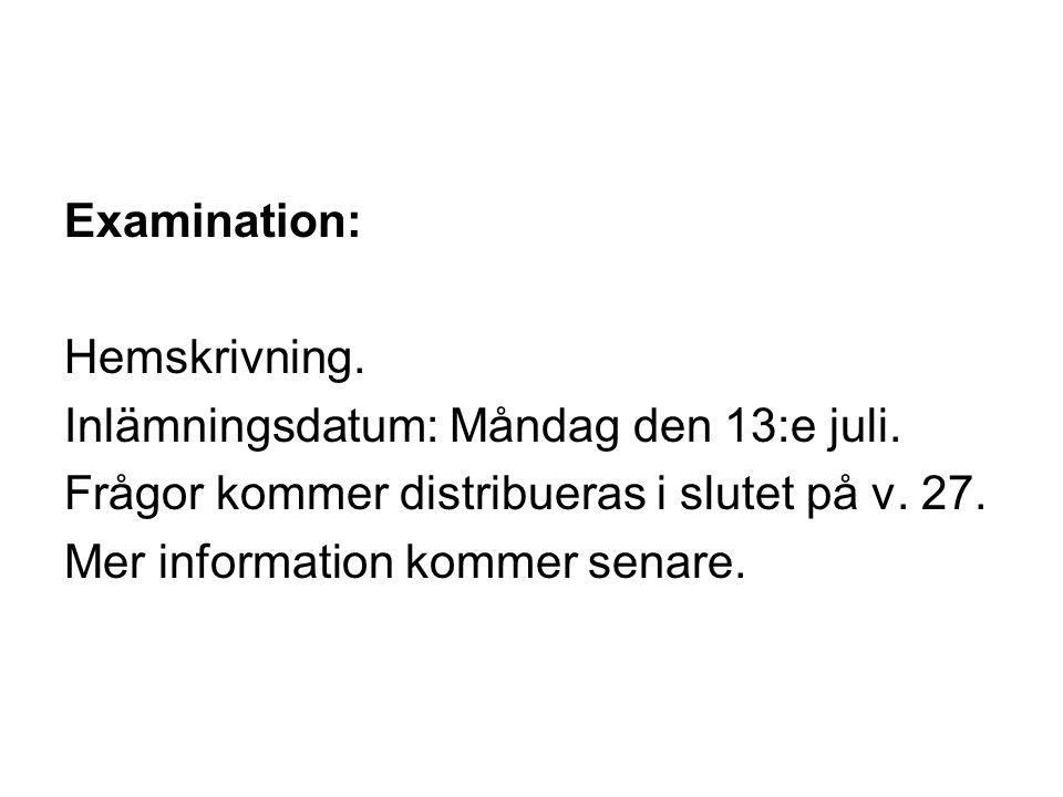 Examination: Hemskrivning. Inlämningsdatum: Måndag den 13:e juli.