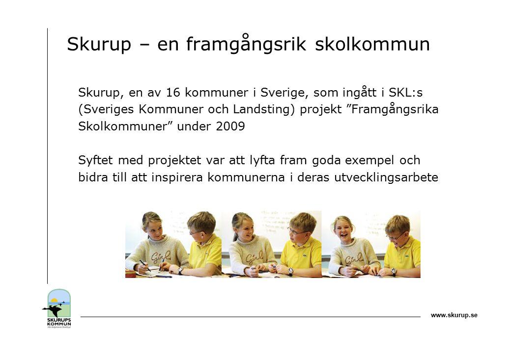 www.skurup.se Skurup – en framgångsrik skolkommun Skurup, en av 16 kommuner i Sverige, som ingått i SKL:s (Sveriges Kommuner och Landsting) projekt Framgångsrika Skolkommuner under 2009 Syftet med projektet var att lyfta fram goda exempel och bidra till att inspirera kommunerna i deras utvecklingsarbete