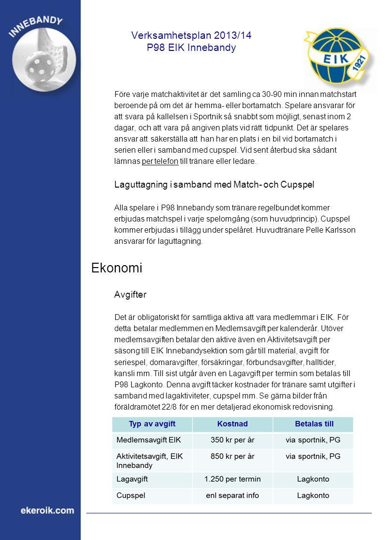 Verksamhetsplan 2013/14 P98 EIK Innebandy Före varje matchaktivitet är det samling ca 30-90 min innan matchstart beroende på om det är hemma- eller bortamatch.