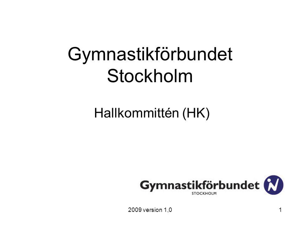 2009 version 1,01 Gymnastikförbundet Stockholm Hallkommittén (HK)