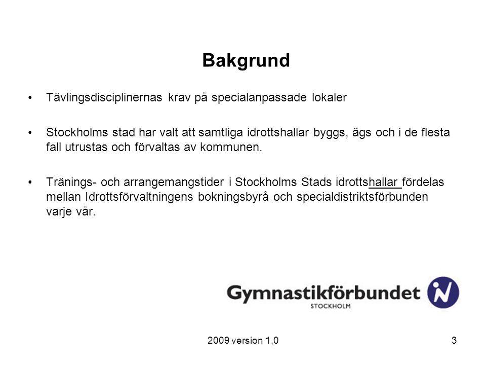 2009 version 1,03 Bakgrund Tävlingsdisciplinernas krav på specialanpassade lokaler Stockholms stad har valt att samtliga idrottshallar byggs, ägs och