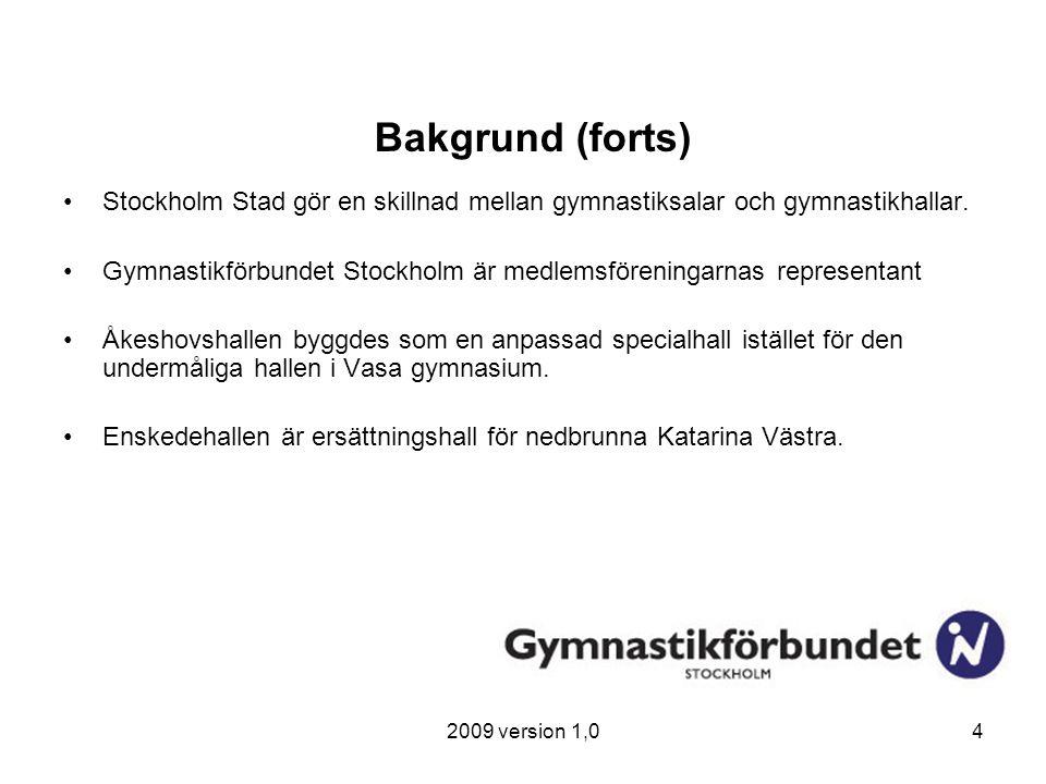 2009 version 1,04 Bakgrund (forts) Stockholm Stad gör en skillnad mellan gymnastiksalar och gymnastikhallar. Gymnastikförbundet Stockholm är medlemsfö