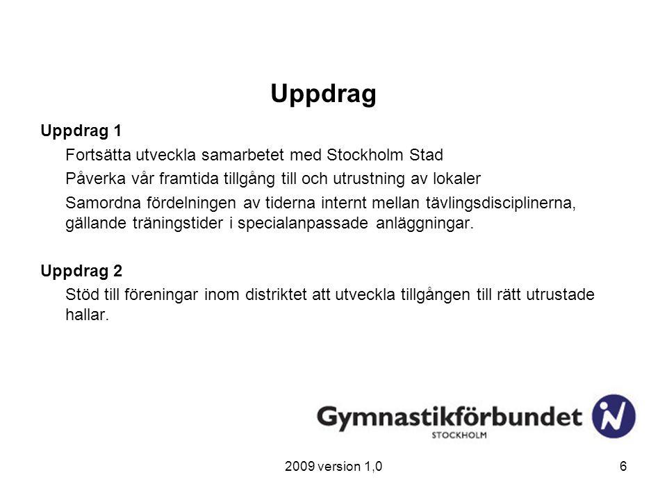 2009 version 1,06 Uppdrag Uppdrag 1 Fortsätta utveckla samarbetet med Stockholm Stad Påverka vår framtida tillgång till och utrustning av lokaler Samo