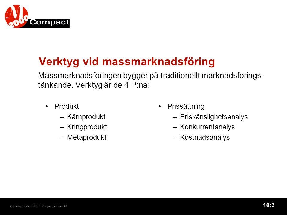 10:4 Kopiering tillåten.M2000 Compact © Liber AB Verktyg vid massmarknadsföring, forts.