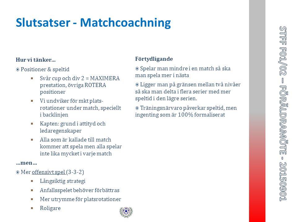 Hur vi tänker…  Positioner & speltid  Svår cup och div 2 = MAXIMERA prestation, övriga ROTERA positioner  Vi undviker för mkt plats- rotationer under match, speciellt i backlinjen  Kapten: grund i attityd och ledaregenskaper  Alla som är kallade till match kommer att spela men alla spelar inte lika mycket i varje match …men…  Mer offensivt spel (3-3-2)  Långsiktig strategi  Anfallsspelet behöver förbättras  Mer utrymme för platsrotationer  Roligare Förtydligande  Spelar man mindre i en match så ska man spela mer i nästa  Ligger man på gränsen mellan två nivåer så ska man delta i flera serier med mer speltid i den lägre serien.