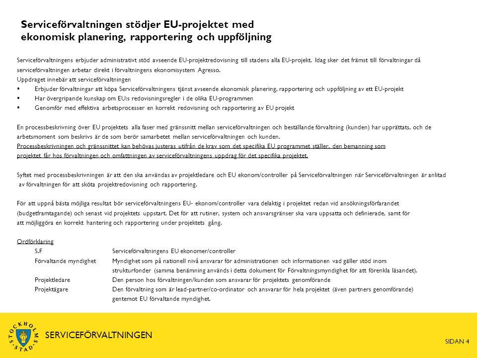 Serviceförvaltningen stödjer EU-projektet med ekonomisk planering, rapportering och uppföljning SIDAN 4 SERVICEFÖRVALTNINGEN Serviceförvaltningens erbjuder administrativt stöd avseende EU-projektredovisning till stadens alla EU-projekt.