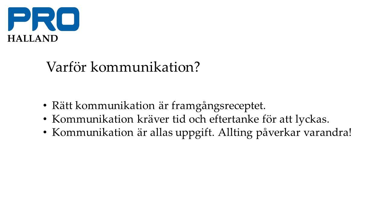 HALLAND Varför kommunikation. Rätt kommunikation är framgångsreceptet.