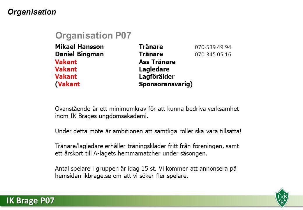 IK Brage P07 Organisation P07 Mikael Hansson Tränare 070-539 49 94 Daniel Bingman Tränare 070-345 05 16 VakantAss Tränare Vakant Lagledare VakantLagförälder (VakantSponsoransvarig) Ovanstående är ett minimumkrav för att kunna bedriva verksamhet inom IK Brages ungdomsakademi.