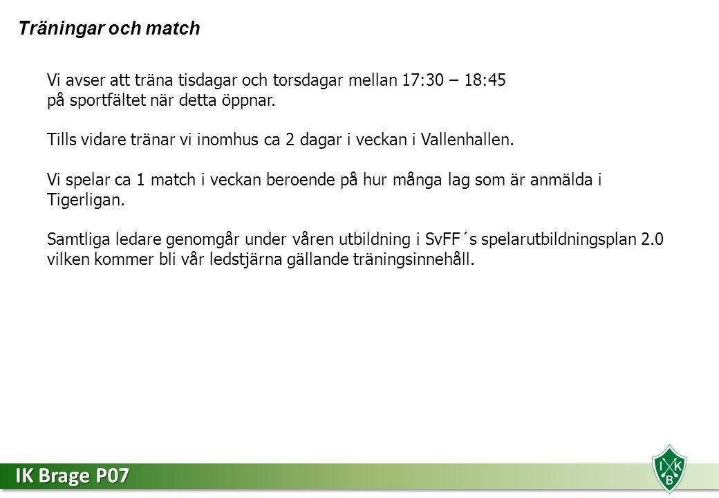 IK Brage P07 Träningar och match Vi avser att träna tisdagar och torsdagar mellan 17:30 – 18:45 på sportfältet när detta öppnar.