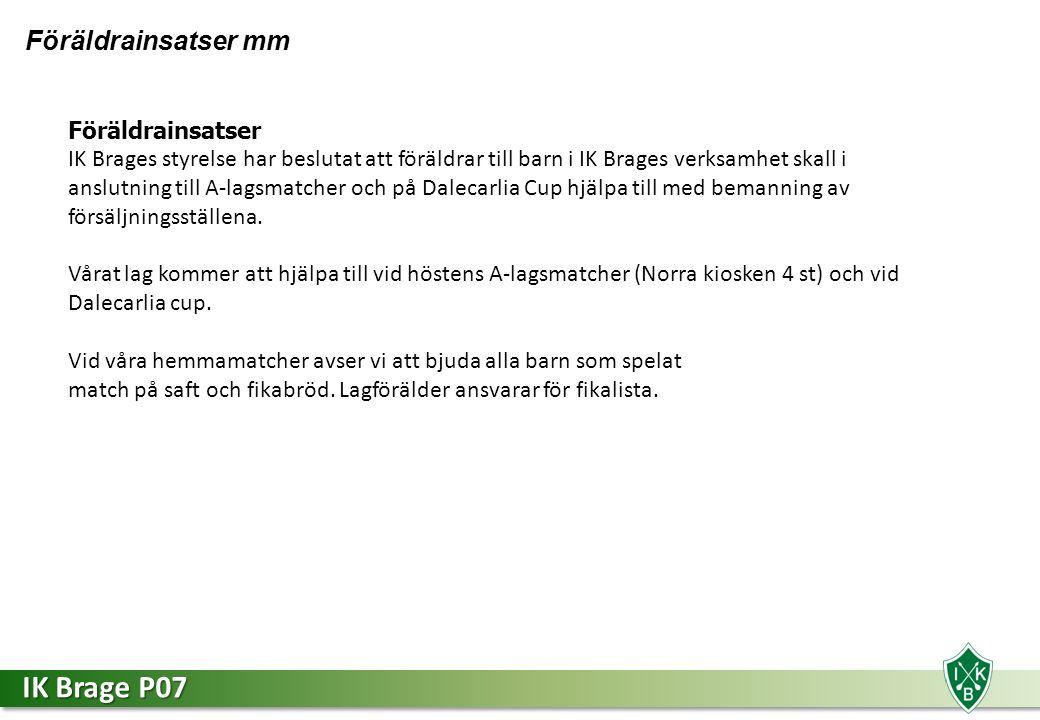 IK Brage P07 Föräldrainsatser mm Föräldrainsatser IK Brages styrelse har beslutat att föräldrar till barn i IK Brages verksamhet skall i anslutning till A-lagsmatcher och på Dalecarlia Cup hjälpa till med bemanning av försäljningsställena.