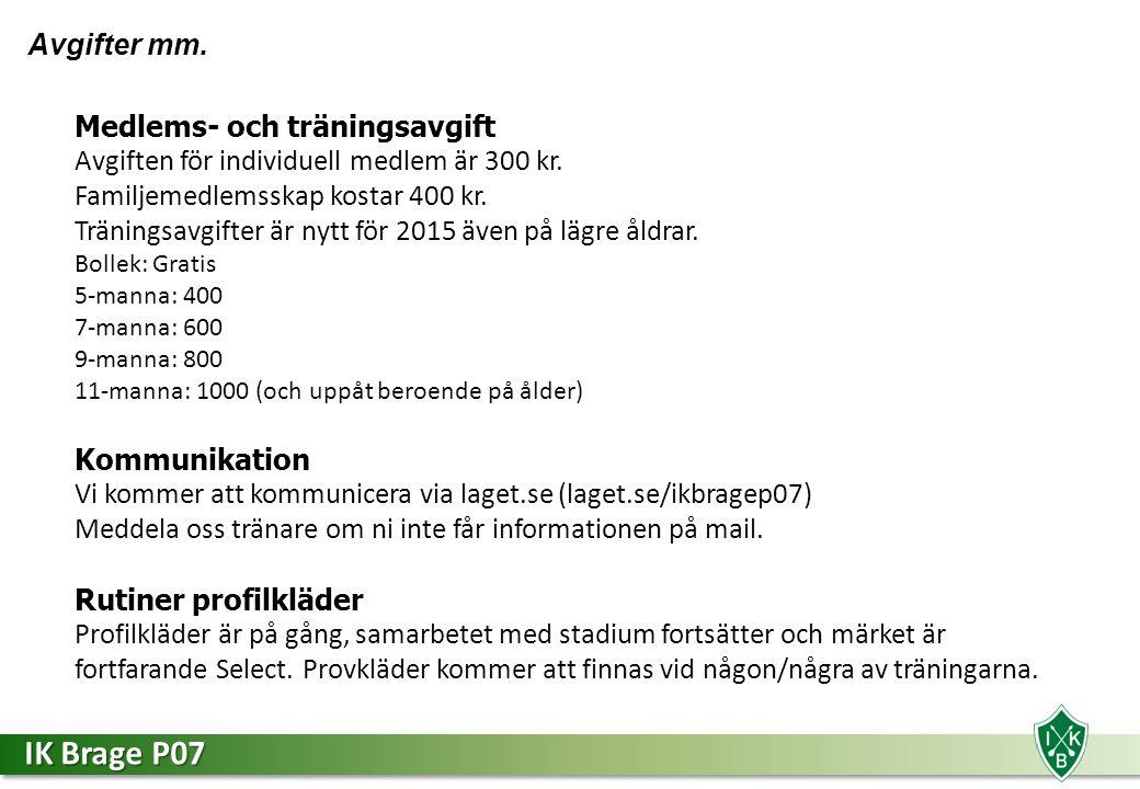 IK Brage P07 Avgifter mm. Medlems- och träningsavgift Avgiften för individuell medlem är 300 kr.