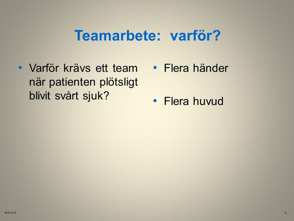Teamarbete:varför. 2015-12-0812 Varför krävs ett team när patienten plötsligt blivit svårt sjuk.