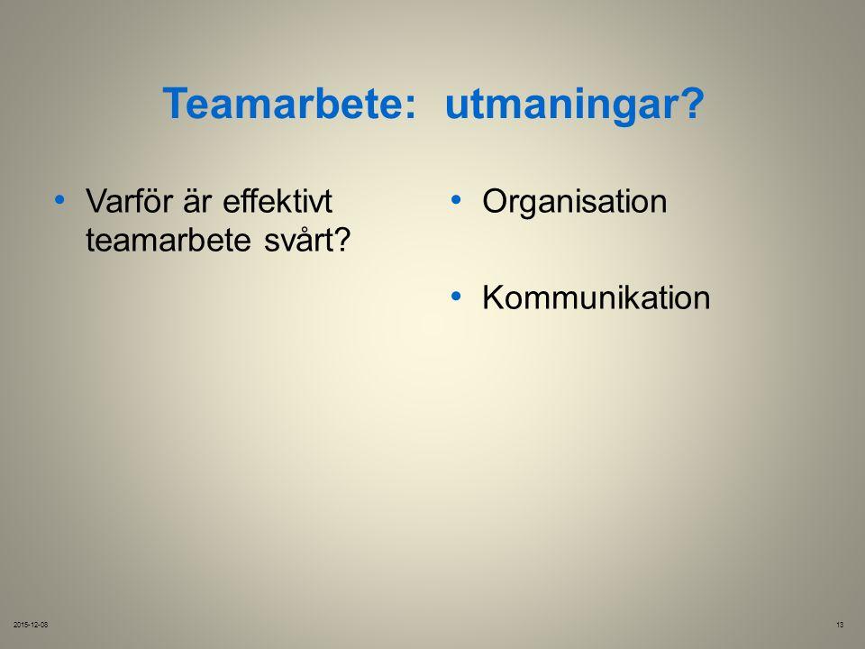 Teamarbete:utmaningar. 2015-12-0813 Varför är effektivt Organisation teamarbete svårt.