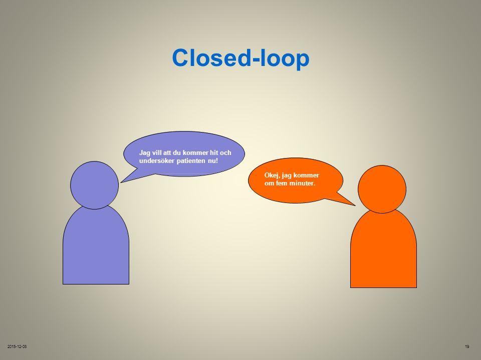 Closed-loop Jag vill att du kommer hit och undersöker patienten nu.