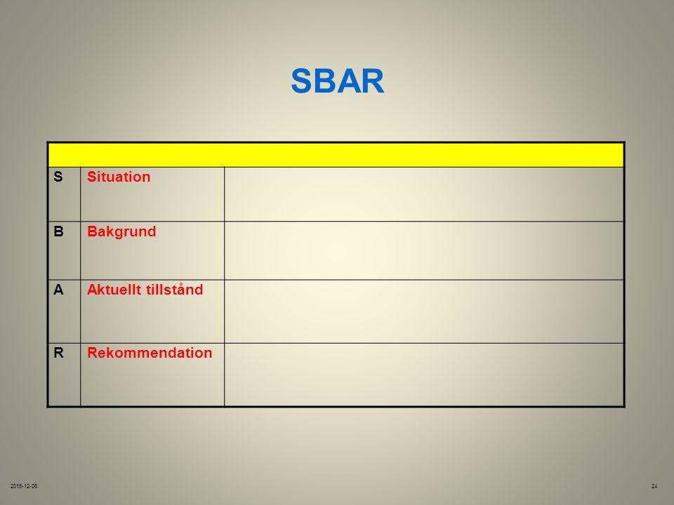 SBAR 2015-12-0824 SSituation BBakgrund AAktuellt tillstånd RRekommendation
