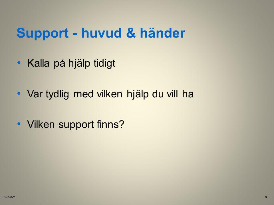 Support - huvud & händer 2015-12-0829 Kalla på hjälp tidigt Var tydlig med vilken hjälp du vill ha Vilken support finns