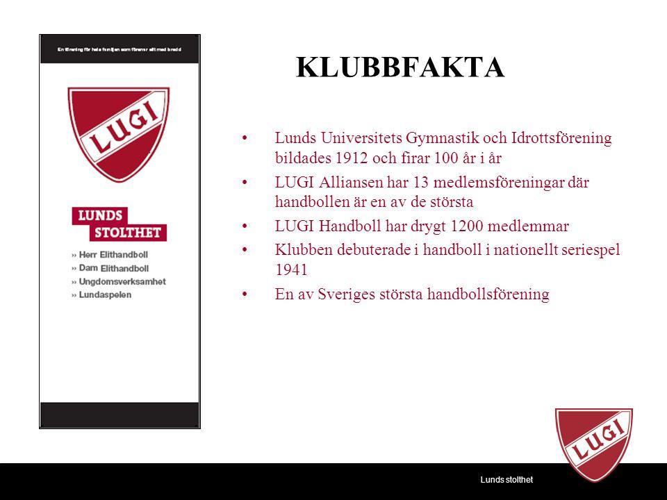 KLUBBFAKTA Lunds Universitets Gymnastik och Idrottsförening bildades 1912 och firar 100 år i år LUGI Alliansen har 13 medlemsföreningar där handbollen är en av de största LUGI Handboll har drygt 1200 medlemmar Klubben debuterade i handboll i nationellt seriespel 1941 En av Sveriges största handbollsförening