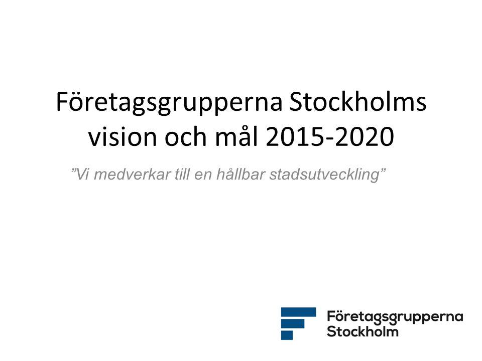 """Företagsgrupperna Stockholms vision och mål 2015-2020 """"Vi medverkar till en hållbar stadsutveckling"""""""