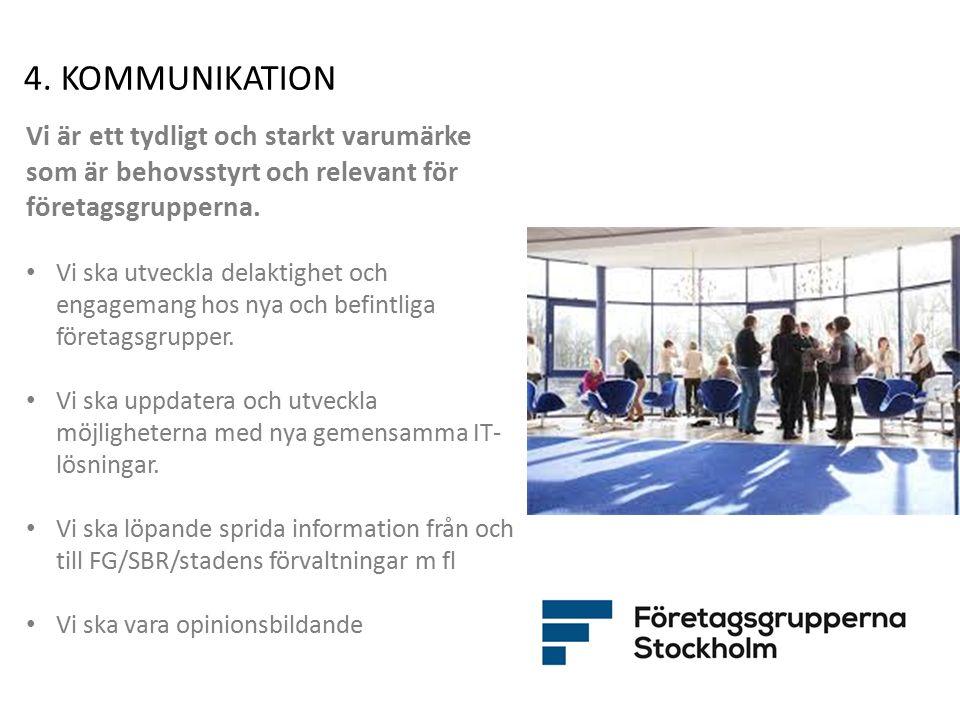 4. KOMMUNIKATION Vi är ett tydligt och starkt varumärke som är behovsstyrt och relevant för företagsgrupperna. Vi ska utveckla delaktighet och engagem