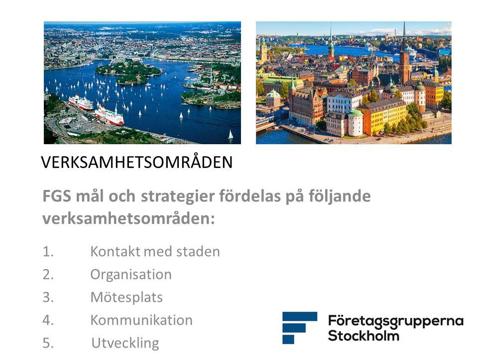 VERKSAMHETSOMRÅDEN FGS mål och strategier fördelas på följande verksamhetsområden: 1. Kontakt med staden 2. Organisation 3. Mötesplats 4.Kommunikation