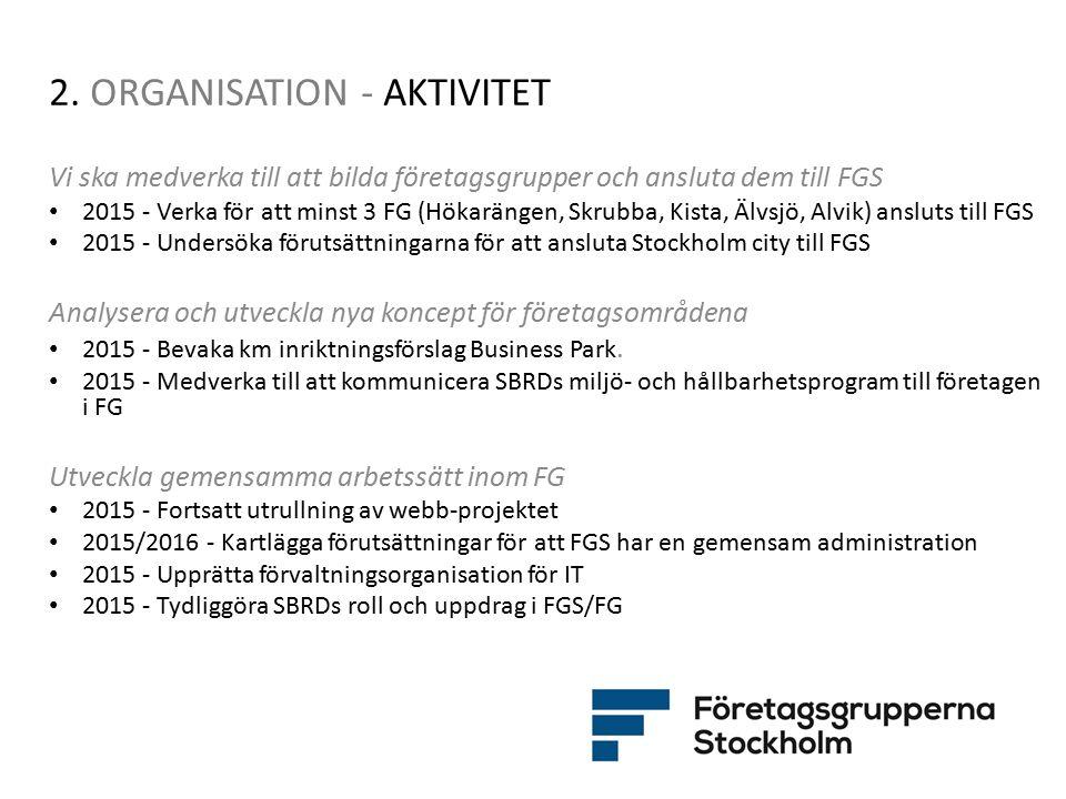 2. ORGANISATION - AKTIVITET Vi ska medverka till att bilda företagsgrupper och ansluta dem till FGS 2015 - Verka för att minst 3 FG (Hökarängen, Skrub